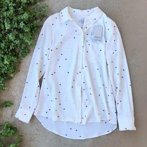 Rails White Star Silk Button Up Blouse Top